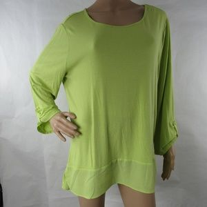 Chico's Shirt Top Roll Up Sleeve Blouse